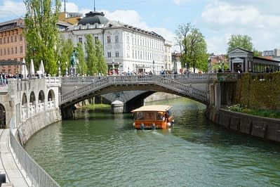 Ljubljana 3 Brücken Fluss