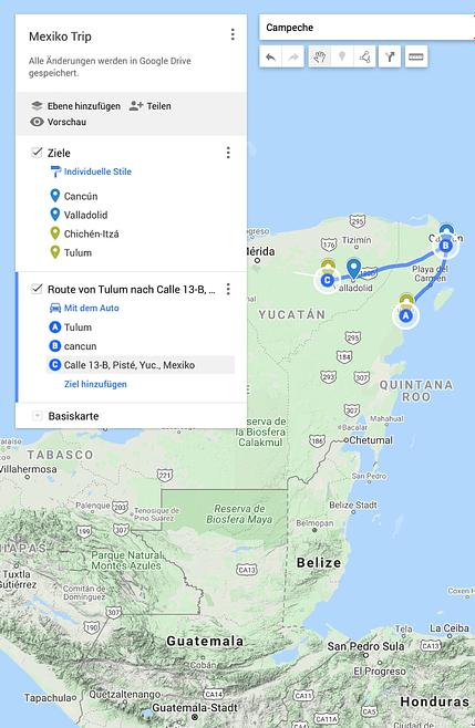 Routenplanung mit MyMaps