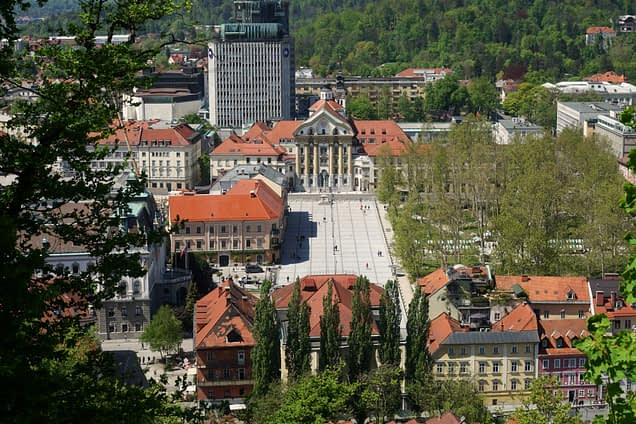 Ljubljana Blick auf Stadt von Burg