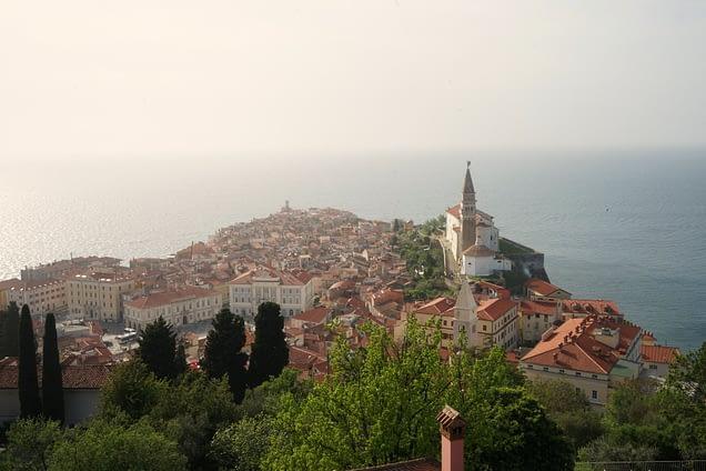 Piran Blick auf Stadt von Stadtmauer