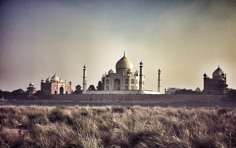 Agra Mehtab Bahg Park Blick Taj Mahal