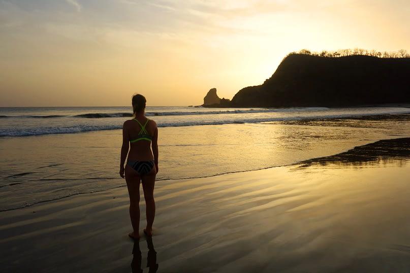 Playa Maderas Sonnenuntergang Franzi