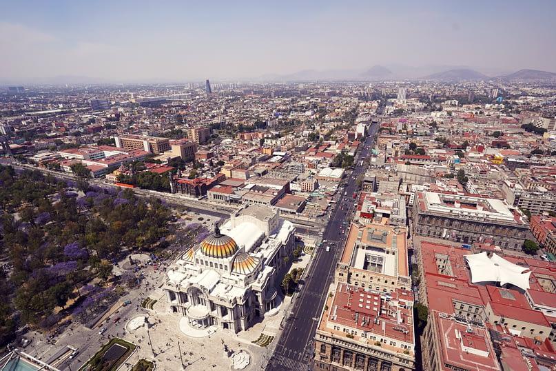 Mexico City von oben Bellas Artes