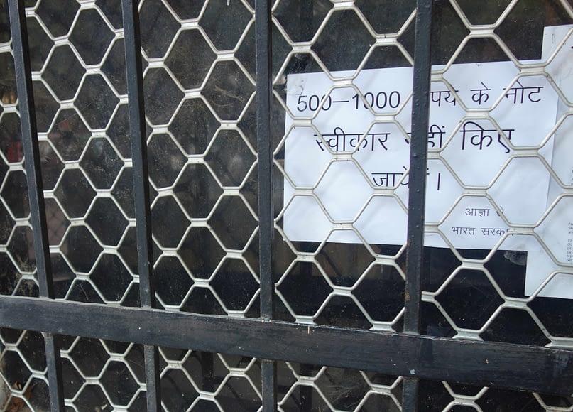 Indien Finanzkrise Geld Aushang