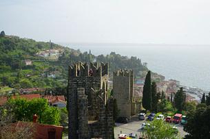 Piran Stadtmauer von oben