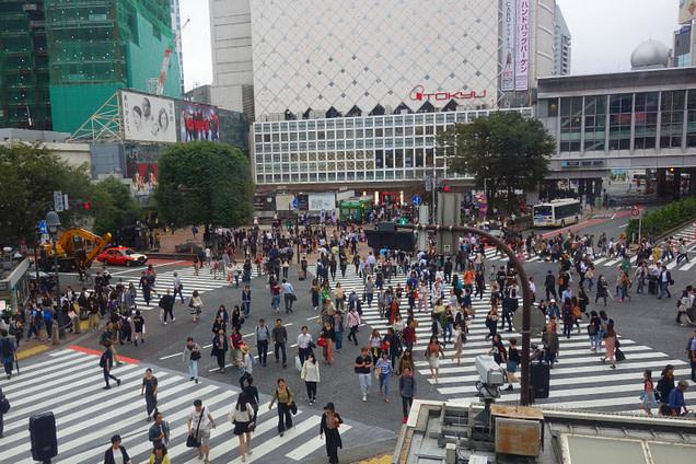 Tokio Shibuya Kreuzung von oben