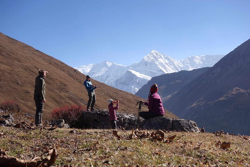 Annapurna Circuit Ledar Gruppenfoto